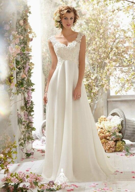 Aliexpress.com : Buy 2015 Lace Chiffon Long Wedding Bridal Dresses ...