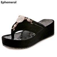 Ladies flip flops platform heels wedge slippers thick heel shoes women pumps cute nubuck leather crystal slides white black 43 9