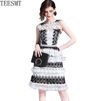2019 New women dress Summer new high end elegant vestidos vintage party runway star sexy lace dresses