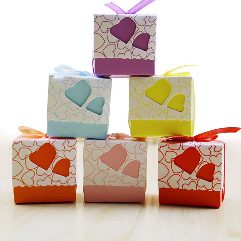 10pcs Novelty Double Hollow Love Heart Design Wedding Favor Candy Boxes Gift Boxes with Ribbon