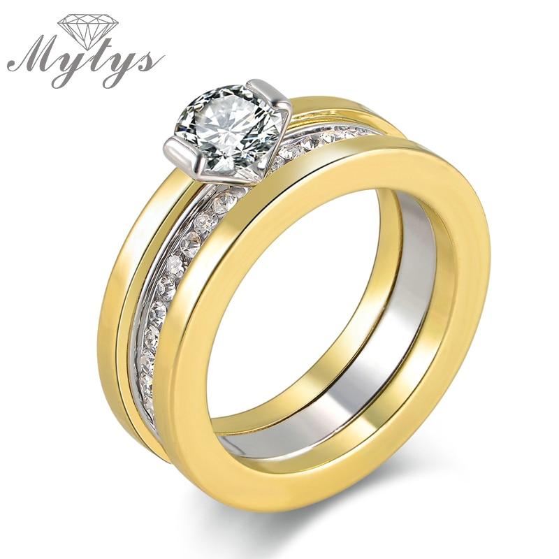 Mytys Three Layers Wedding Bangs AAA Level Zircon Prong Setting Wedding Ring for Women Gift R1051