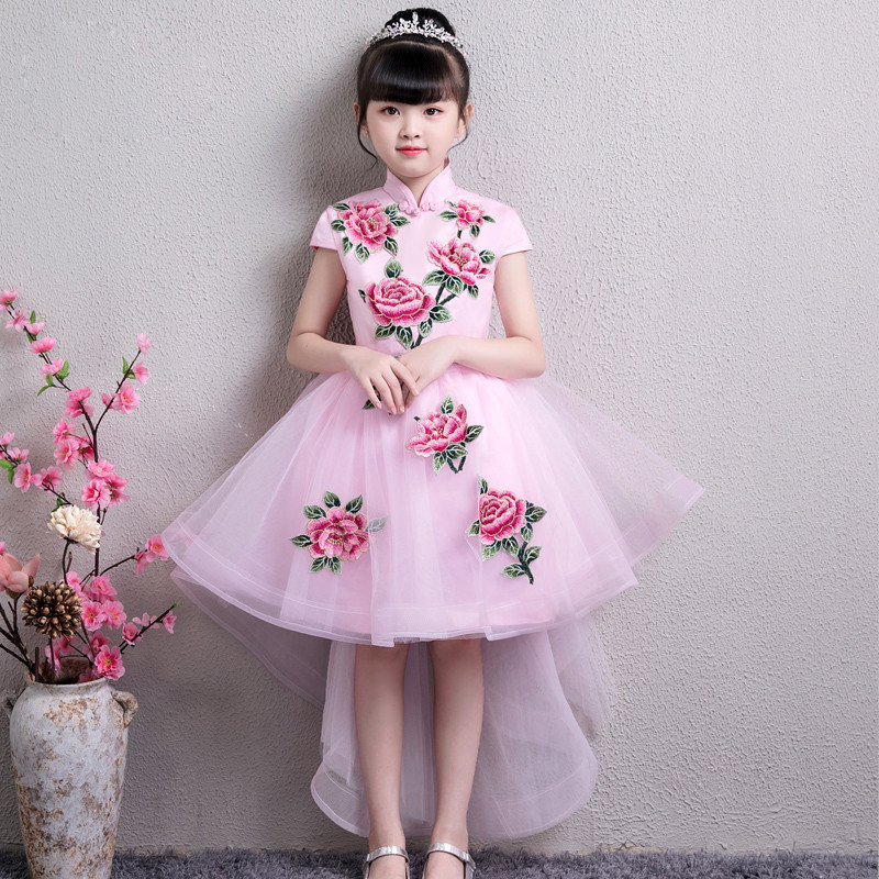 2018 Summer Autumn New Baby Kids Sweet Pink Embroidery Flowers Princess Tail Dress For Birthday Wedding Party Little Girl Dress new summer sweet pink children kids princess flowers dresses formal party wear dress for baby girl birthday wedding party dress