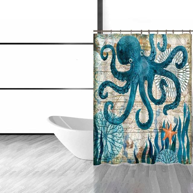 DecorUhome Polyester Waterproof Cartoon Marine Octopus Shower