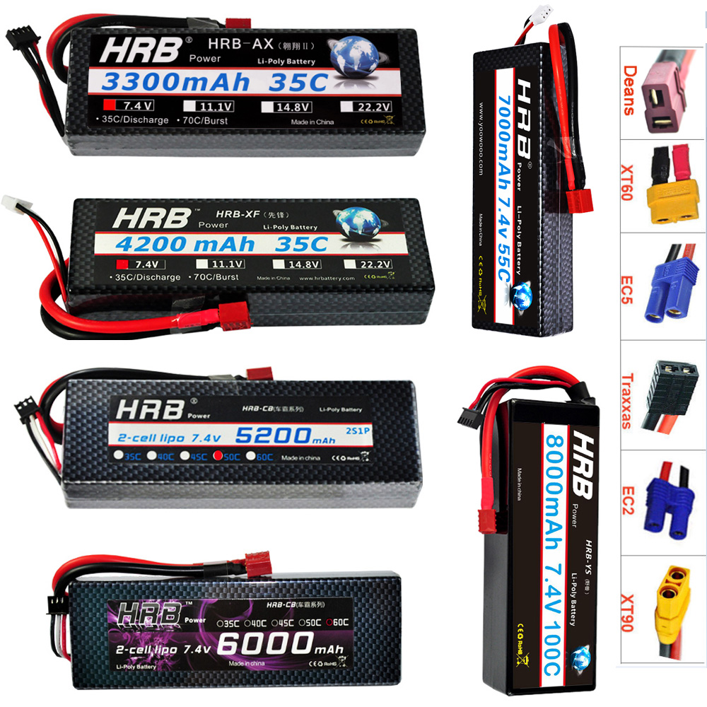 HRB RC <font><b>Lipo</b></font> Battery <font><b>2S</b></font> 2P <font><b>2S</b></font> 1P 7.4V 3300mah 4200mah 5200mah <font><b>6000mah</b></font> 7000mah 8000mah 100C Max 200C Hard Case For Traxxas Car image