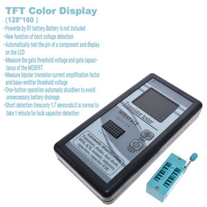 Image 5 - Multi propósito transistor tester, 128*160 mosfet thyristor diodo resistor indutância capacitância esr lcr meter display tft a cores