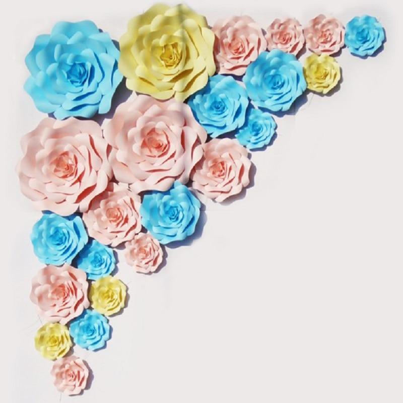 23 stücke Set Handgemachte Karton Riesenpapier Blumen Für Hochzeit - Partyartikel und Dekoration