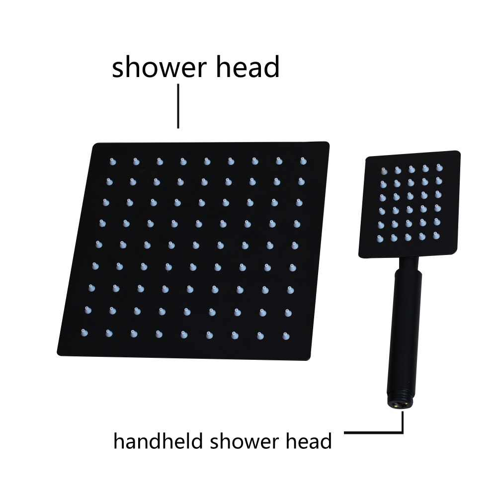 KEMAIDI Bathroom Shower Faucet 3-Functions Black Digital Shower Faucets Set Rainfall Shower Head 2-way Digital Display Mixer Tap