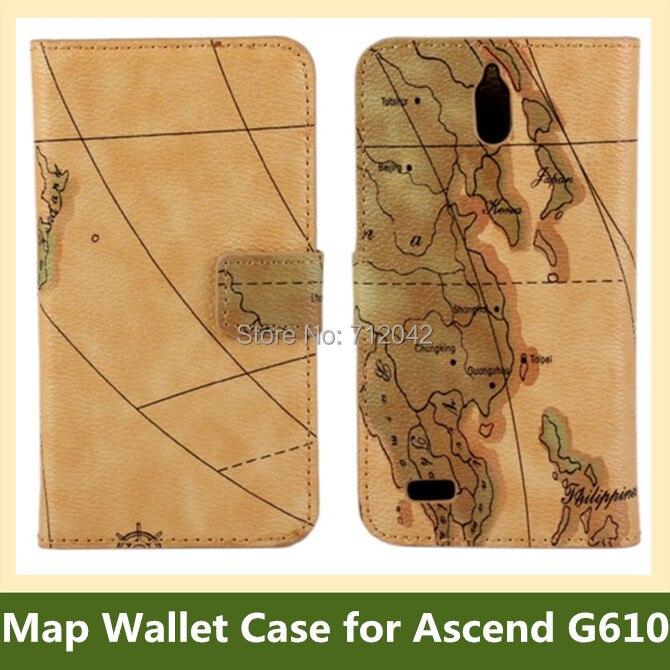 Moda mundo Mapas patrón pu Cartera de cuero Flip funda para Huawei ...