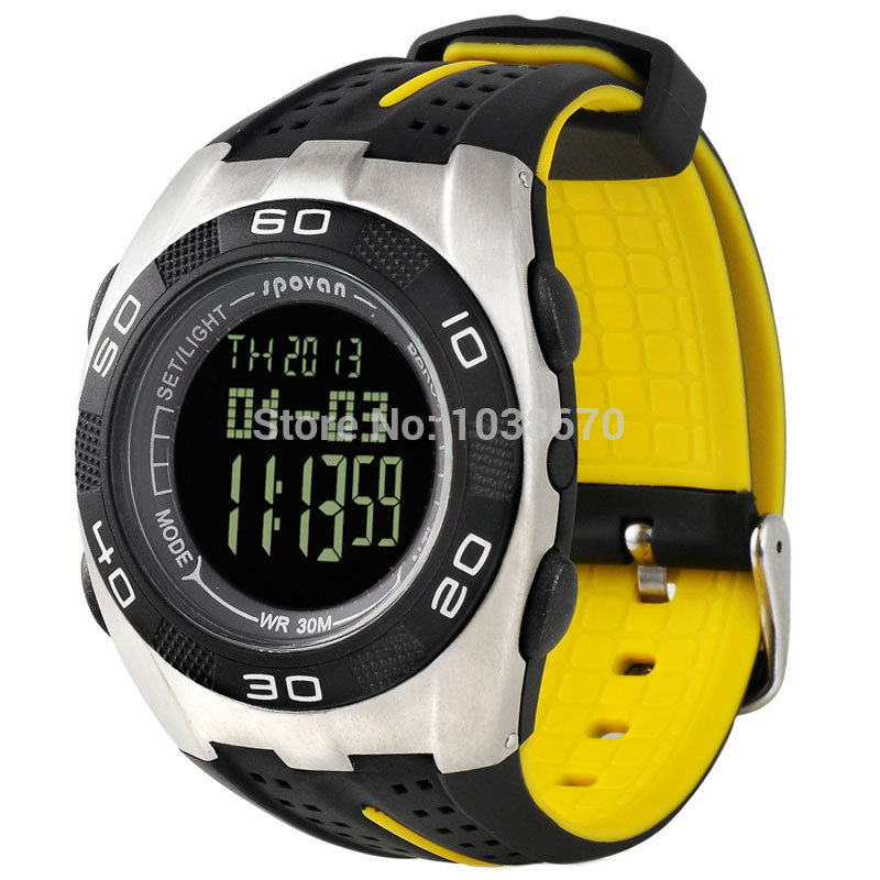 New Spovan Multifunction Yellow Army Digital Climbing Sports Altimeter Thermometer Barometer Watch LCD Monitor 3ATM Waterproof  цены