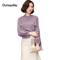 Autumn New Arrived Women S Shirts Regular Casual Elegant Long Sleeves Stand Collar Gentle Office Lady