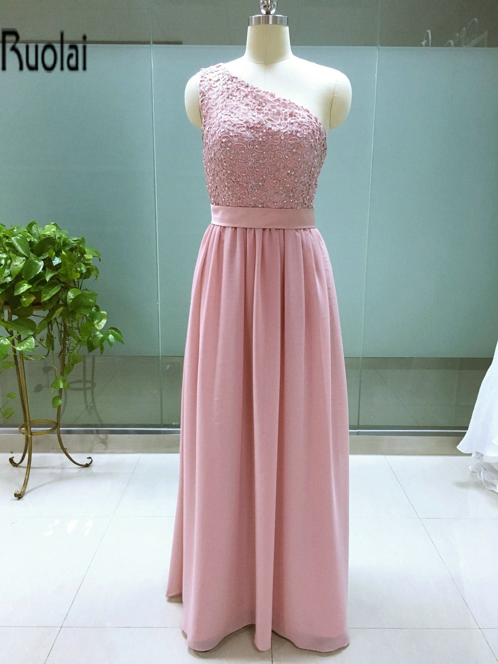 Real Sample New Arrival Charming One Shoulder Lace Pears Chiffon A Line Floor Length Long   Bridesmaid     Dresses   Maid Of Honor