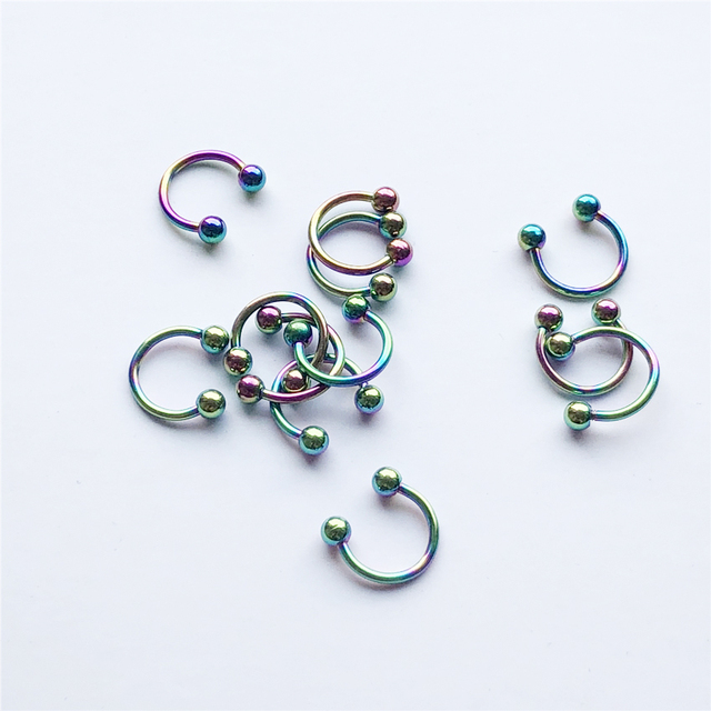 UVW037 Trendy Surgical Steel C Shape Segment Tragus Fake Septum Nose Rings Stud Helix Piercing Body Jewelry 4