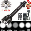 4000LM Tactical LED Flashlight Torch 2 x CREE XM-L T6 Outdoor Flashlamp 5-Mode 2T6 Hunting Lantern lamp +18650 Battery Charger