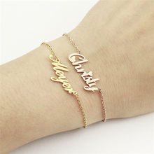 DIANSHANGKAITUOZHE Personalized Text Bracelet Rose Gold Custom Jewelry Customized Name Metal Bracelet Stainless Steel Hand Chain(China)