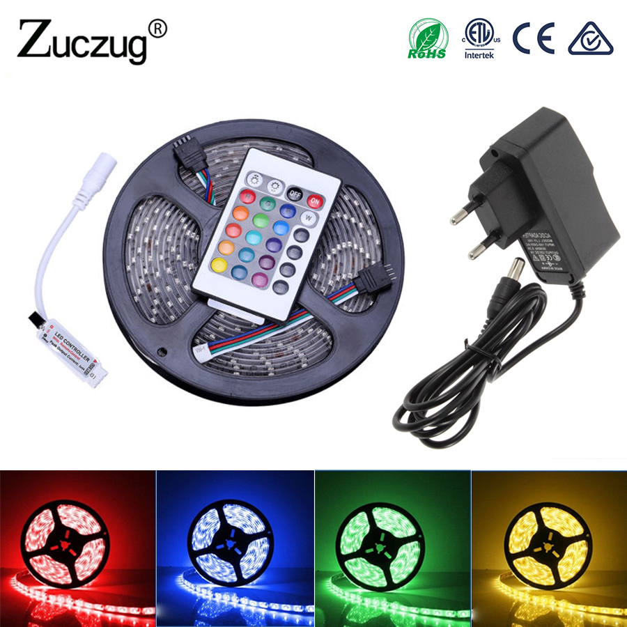 RGB LED Strip 12 v flexible Light 2835 5M Waterproof ledstrip neon Tape Rope with IR Remote Control DC12V Power Adapter full set 10m 5m 3528 5050 rgb led strip light non waterproof led light 10m flexible rgb diode led tape set remote control power adapter