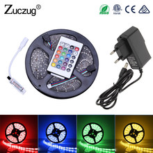 Rgb Led Strip 12 V Flexible Light 2835 5m Waterproof Ledstrip Neon Tape Rope With Ir Remote Control Dc12v Adapter Full Set