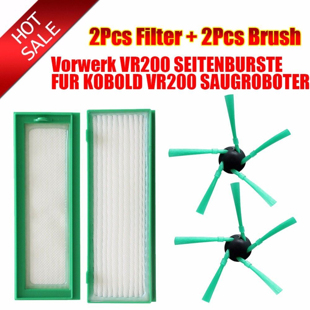 Robot Vacuum Cleaner accessories dust Parts 2*HEPA Filter+2*brush for Vorwerk VR200 SEITENBURSTE FUR