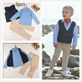 3 pieces set autumn 2016 children's leisure clothing sets kids baby boy suit vest gentleman clothes for weddings formal clothing
