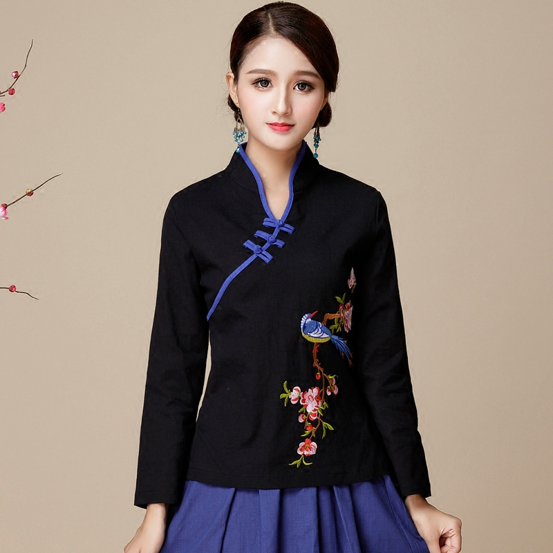 Cappotto delle donne di stile, Yunnan, Lijiang, autunno e inverno, nuovo cotone, lino, ricamato di fiori, diagonale petto della camicia.