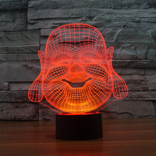 Maitreya Buddha 3D Illusion LED Night Light 7Colors Touch Switch Desk Table Lamp Children Kids Bedroom Lamp Novelty Lighting