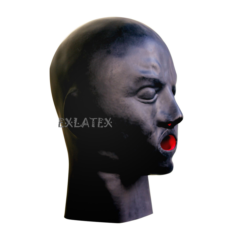 Latex Mask Fetish Costumes bdsm Hood LATEX male with teech deadpool mask sm mask-Black (4)