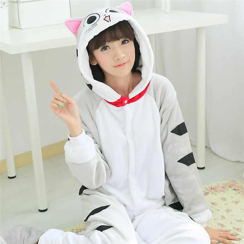 Kigurumi Flannel Soft Cat ชุดนอนสำหรับผู้ใหญ่ชายหญิงฤดูหนาว WARM Jumpsuit Anime Onesie คอสเพลย์