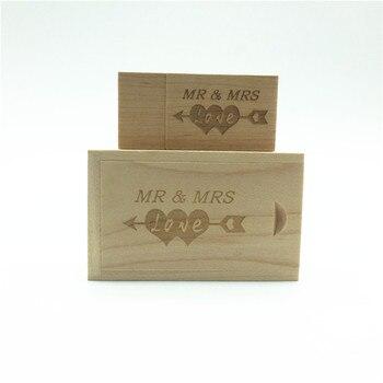 Hot Sale(over 10 PCS free LOGO) Wooden usb + Box pen drive 8GB 16gb 32gb usb Flash Drive Memory Stick LOGO customer wedding Gift