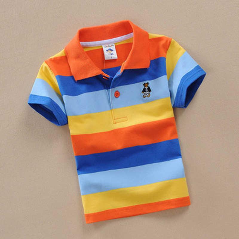 ボーイズストライプ夏ポロシャツ学校子供服綿半袖ターンダウン襟ケリスポーツ Tシャツサイズ 24 m-12 T
