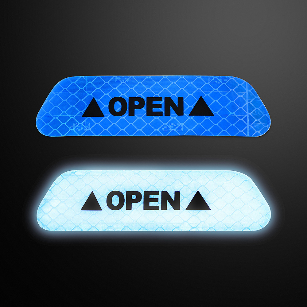 1 Piece Car OPEN Reflective Tape Warning Mark Reflective Open Notice Bicycle Accessories Exterior Stickers Car Door