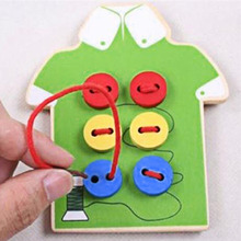Kids DIY Sew Buttons Wooden Toys Beads Lacing Wood Puzzles Board Children Montessori Early Education Teaching