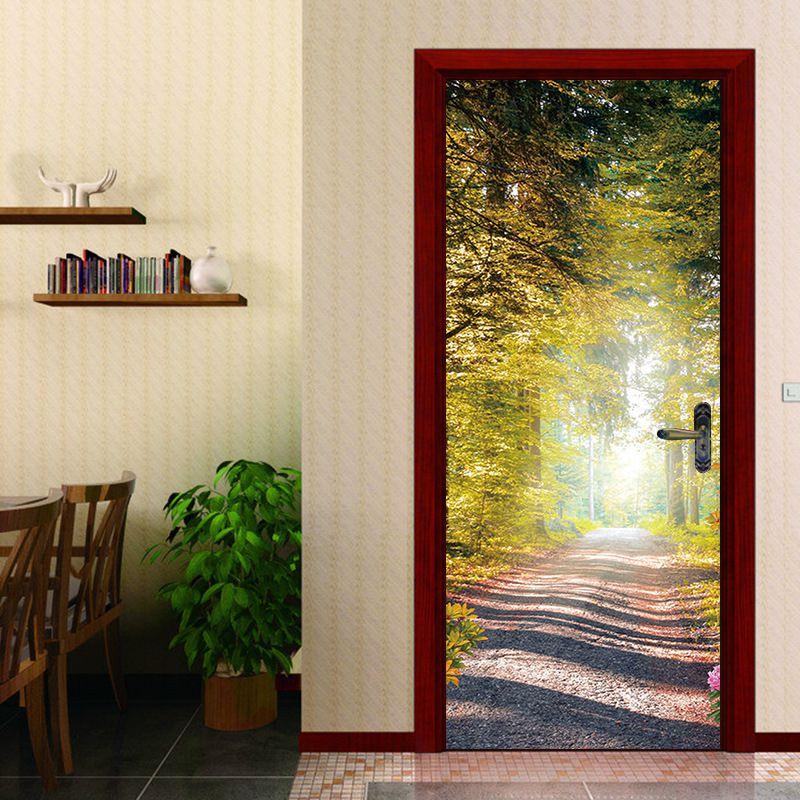 Imitation Custom Photo Wallpaper Fresh Forest Trail Door Sticker Wall Sticker Mural Waterproof Bedroom Home Decor Poster