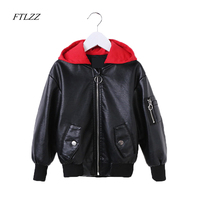 Girl Kids Boys Girls Fashion Leather Jacket 2018 Spring Autumn Pu Jackets Children Zipper Baby Red