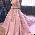 HQ Lindo Vestidos De Festa vestido de Baile Cap Manga Curta rosa Lace Apliques Vestidos de Noite Longo do baile de Finalistas do Partido Vestidos de noiva Capela trem
