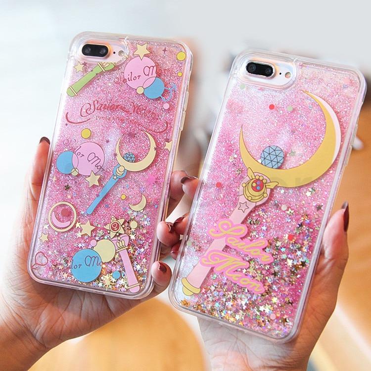 best service 6445a 2a034 Cartoon Unicorn Flamingos Phone Cases For Iphone Dynamic Glitter Stars  Water Liquid