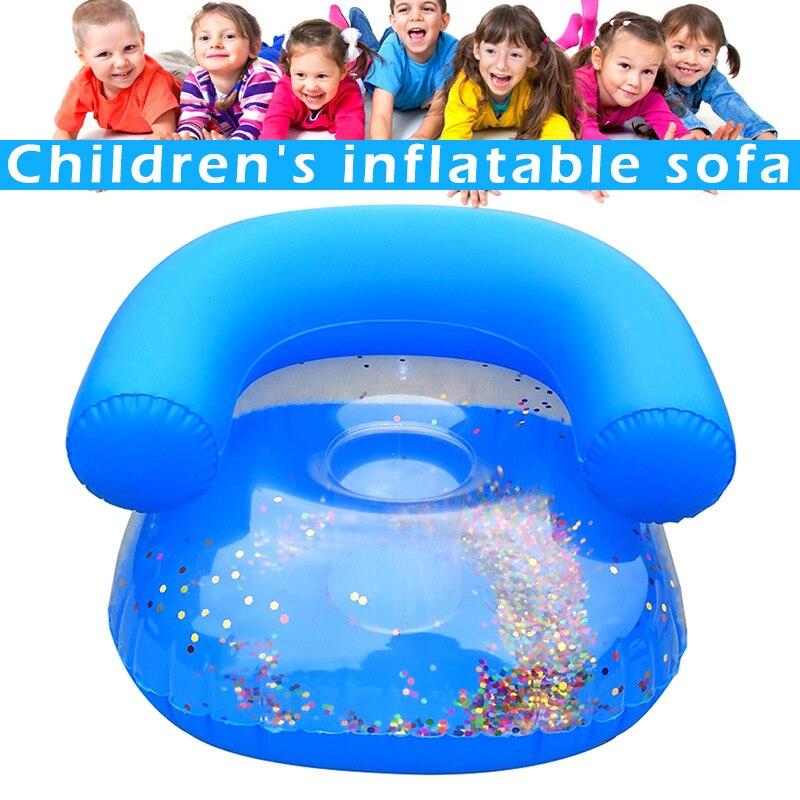 Neu Kinder Aufblasbare Sofa Baby Sitzen Stuhl Pailletten Kinder Bad Lernen Sitz 19ing
