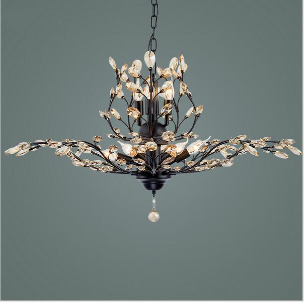 Işıklar ve Aydınlatma'ten Kolye ışıkları'de Yeni Yenilikçi Amerikan pastoral tarzı kristal tavan lambası retro parlaklık K9 kristal Avize Siyah/Kahverengi armatür title=