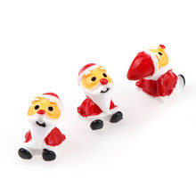 10Pcs 13x18mm 3D Mixed Santa Claus Resin mini garden decorative Miniature Figurine Crafts decorations for home DIY Accessorie(China)