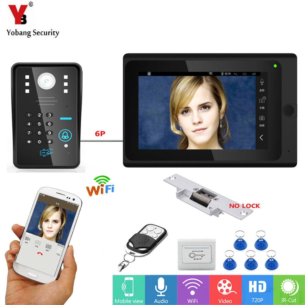 все цены на YobangSecurity Video Intercom 7 Inch Monitor Wifi Wireless Video Door Phone Doorbell KIT RFID Password+Door Lock+Power Supply онлайн