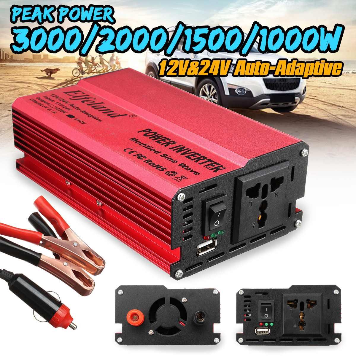 Falownik solarny 12V 220V 1000W 1500W 2000W 3000W P eak uniwersalny 12/24V konwerter napięcia transformator DC 12V i 24V do AC 110 V/220 V