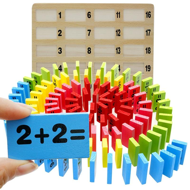 110 STÜCKE Domino Holz Numerische Addition Subtraktionstabelle Kinder Mathematik Unterricht AIDS, Holz pädagogisches Spielzeug