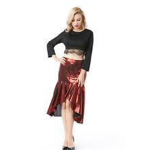 ФОТО 2018 plain shinely skirt knee-length asymmetrical hot skirt women elegant mid waist mermaid skirt for sexy & club party holiday