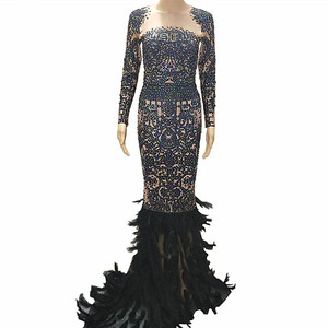 Nightclub Women Singer Purple Beads Black Feather Rhinestones Long Dress Prom Evening Party One Piece Dress Celebration Outfits