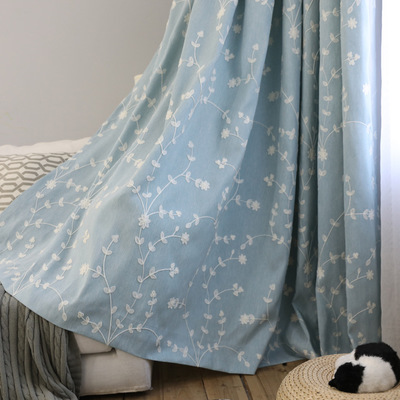 Cotton Linen Countryside Fresh Fan Screens White Flower Branch Embroidery Curtains Custom for Living Room Bed Room Children