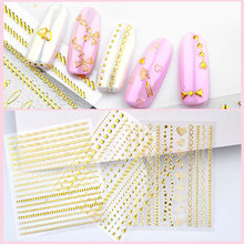 New 1 Sheet Metallic Embossing 3D Gold Nail Art Stickers Self-adhesive Mixed Flowers Decals Wraps For DIY Nail Tips Decorations stylish 3d metallic flowers printing clutch