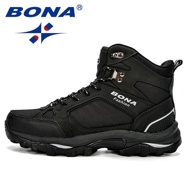 BONA Men Boots Anti-Skidding Leather Shoes Men Popular Comfy Spring Autumn Men Shoes Short Plush Snow Boots Durable Outsole 4