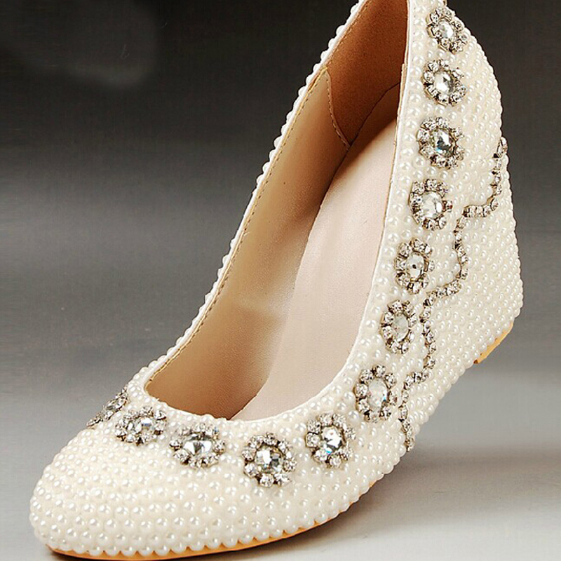Lady Wedge Heels Bridal Wedding Dress Shoes Fashion Women Pumps Round Toe Ivory Pearl Prom High Mother Bride In S From On