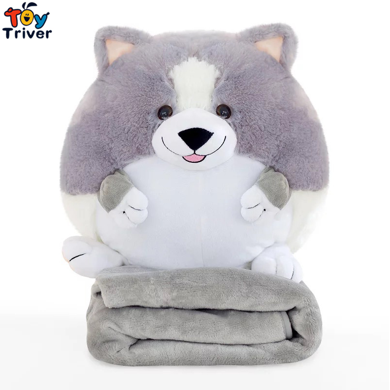 Plush Corgi Dog Portable Blanket Stuffed Toy Doll Baby Shower Car Air Condition Travel Rug Office Nap Carpet Birthday Gift