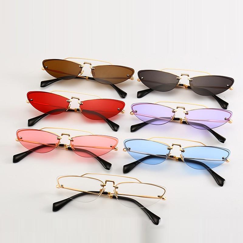 Kattögon smala solglasögon för kvinnor Vintage Design Rimless - Kläder tillbehör - Foto 1