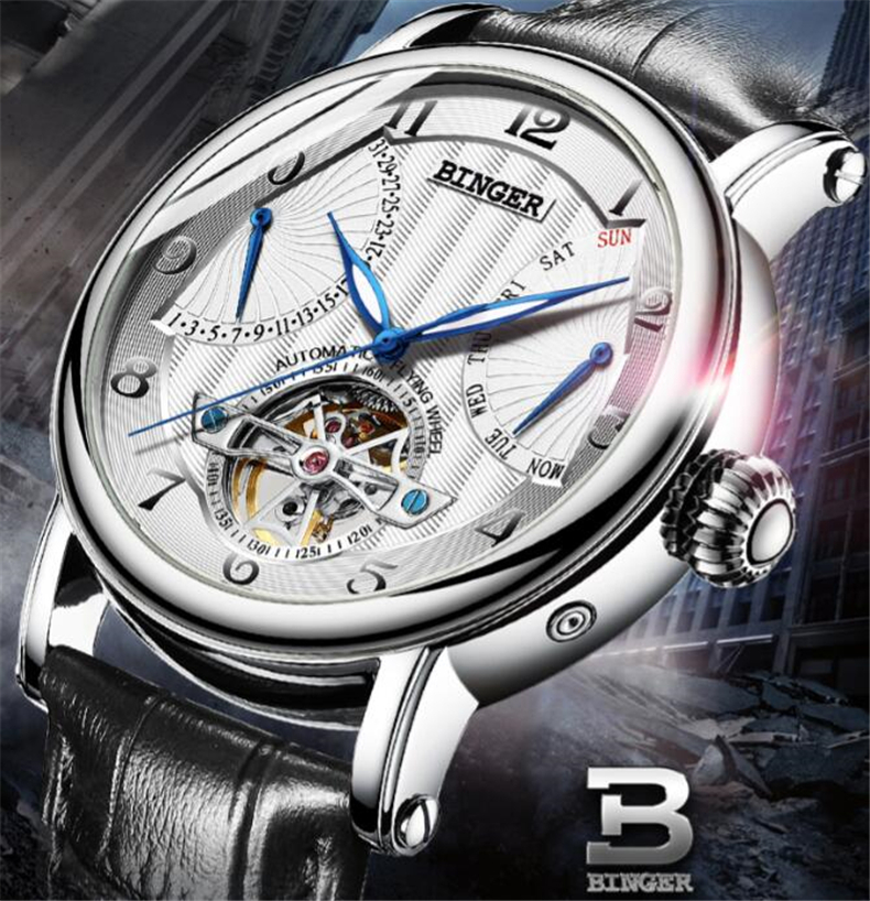 Binger Tonneau Tourbillon Automatic Mechanical Watch for Men Simple Leather Band Mens Watches Wristwatch Business Mans Clock original binger mans automatic mechanical wrist watch date display watch self wind steel with gold wheel watches new luxury