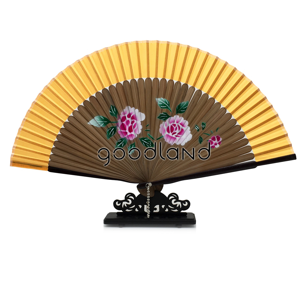 Free Shipping 1pcs Random Color Spun Silk Cover Brown Bamboo Ribs Folding Hand Fan Christmas Gifts Natale